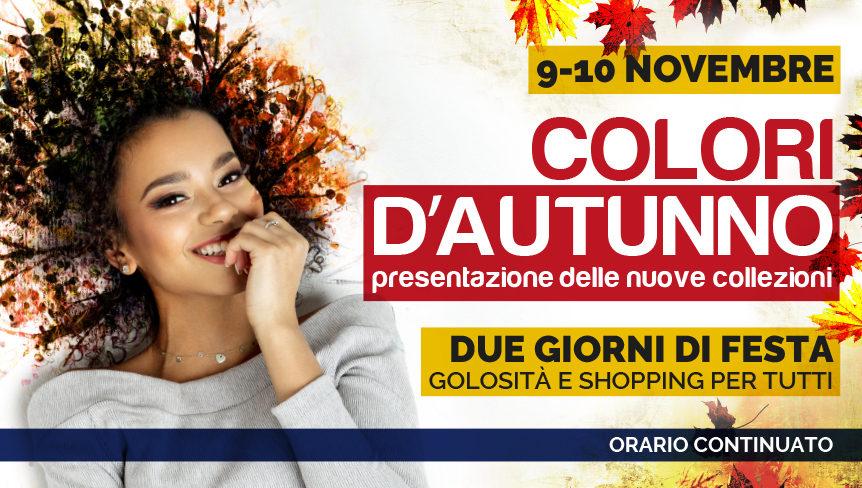 Evento Rondina store 9 e 10 novembre 2019. Copertina con ragazza che sorride, foglie autunnali