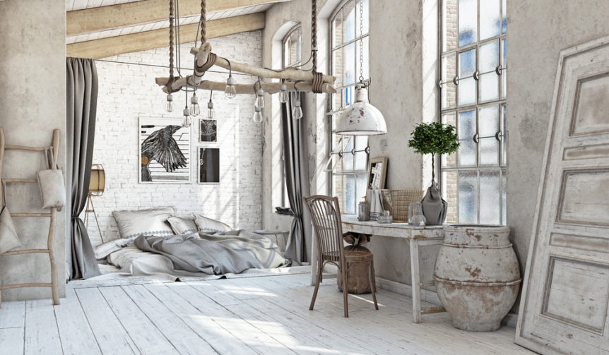 Ambiente arredato con mobili Shabby Chic sui toni del grigio perla