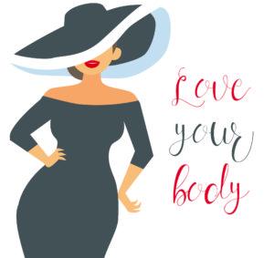 """Immagine (tipo fumetto) di ragazza curvy con la scritta """"Love your body"""""""