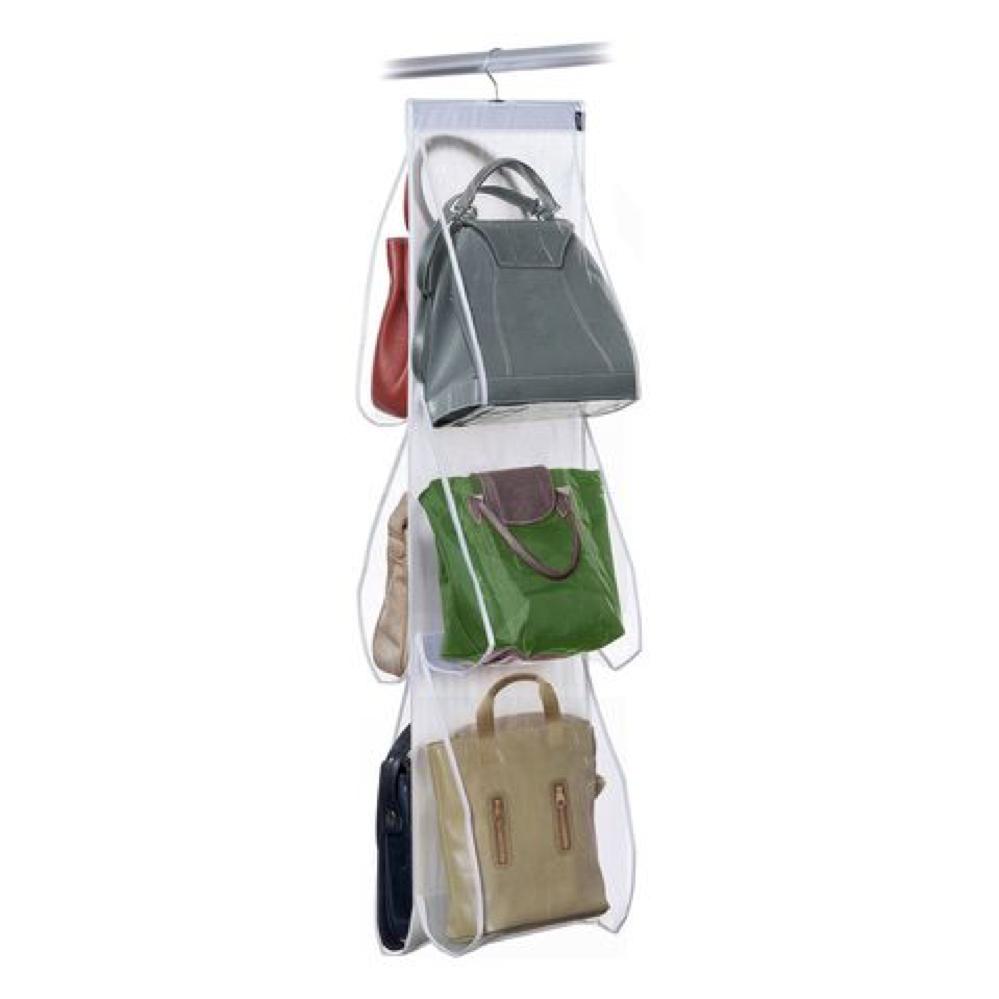 Contenitore verticale per borsette da appendere nell'armadio tramite una gruccia