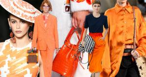 Immagine collettiva di outfit di colore arancione abbinate a colori di contrasto come rosa, nero, crema. Borsette in tinta