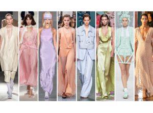 8 ragazze che indossano diverse tipologie di abiti color pastello