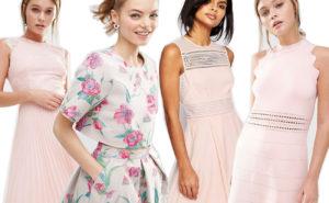 Quattro ragazze che indossano abiti eleganti nelle sfumature del rosa