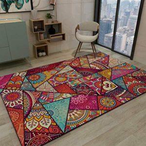 Ambiente con pavimento in legno e tappeto a trama geometrica e ricco di colori . I motivi sono geometrici e floreali