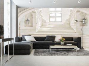 Salotto con grande installazione di carta da parati in 3d (motivo androne e scala di un palazzo nobiliare