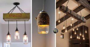 Particolare di lampadari con inserti in legno e corda. Sono presenti 3 modelli diversi
